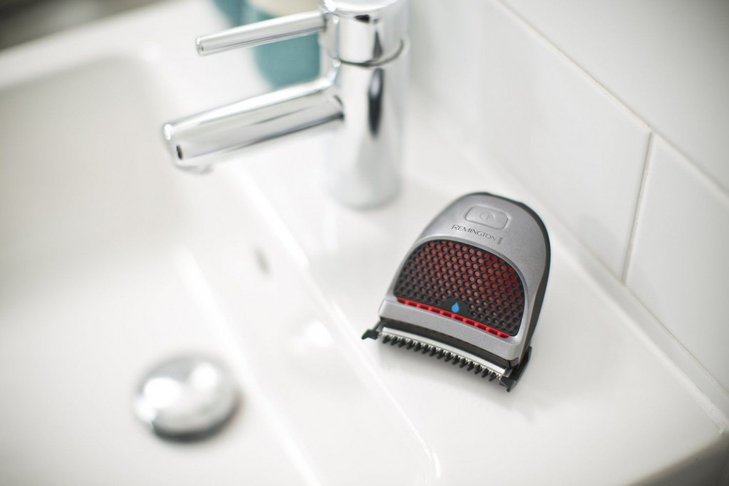 remington hair clipper in bathroom